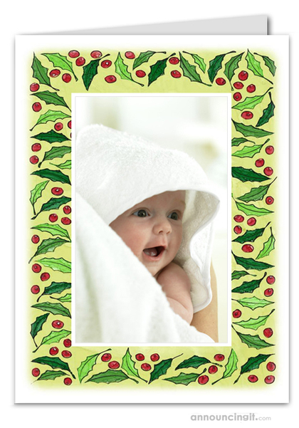 Berries & Leaves Photo Holder Holiday Christmas Cards (V)