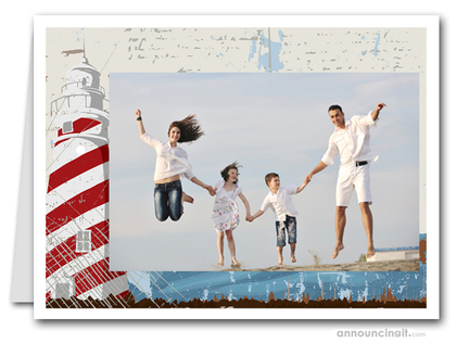Lighthouse Photo Holder Holiday Christmas Cards (H)