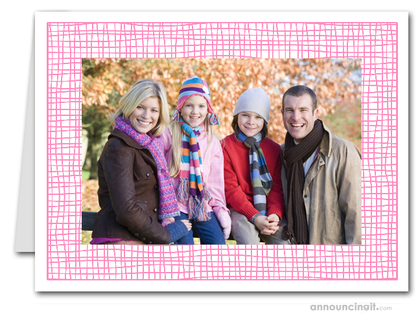 Pink Crosshatch Photo Holder Holiday Cards (H)