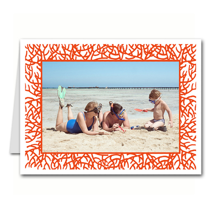 Red Coral Photo Holder Holiday Christmas Cards (H)