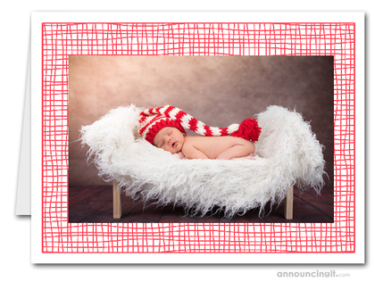 Red Crosshatch Photo Holder Holiday Cards (H)