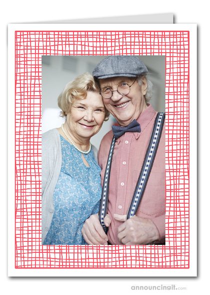 Red Crosshatch Photo Holder Holiday Cards (V)