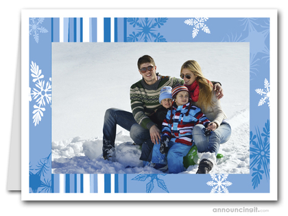 Blue Snow Holiday Photo Holder Cards (H)