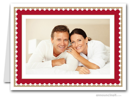 Dotted Red & Taupe Holiday Photo Holder Cards (H)