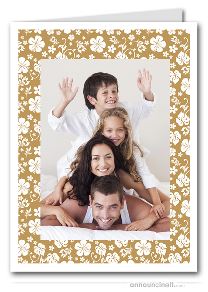 Hibiscus on Gold Tropical Holiday Photo Holder Cards (V)