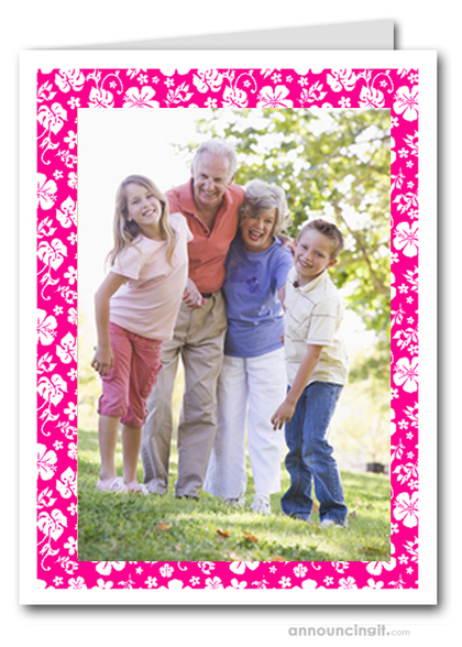 Hibiscus on Pink Tropical Holiday Photo Holder Cards (V)