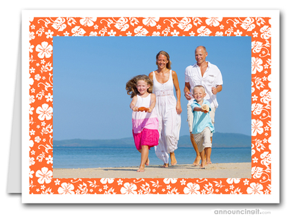 Hibiscus on Orange Tropical Holiday Photo Holder Cards (H)