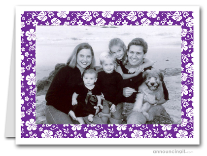 Hibiscus on Purple Tropical Holiday Photo Holder Cards (H)
