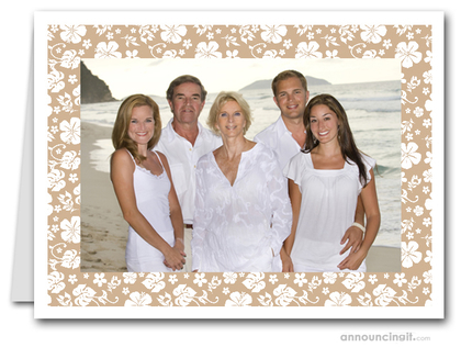 Hibiscus on Tan Tropical Holiday Photo Holder Cards (H)