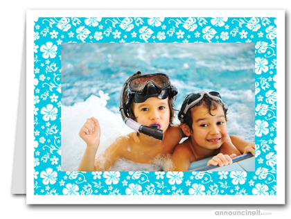 Hibiscus on Turquoise Tropical Holiday Photo Holder Cards (H)