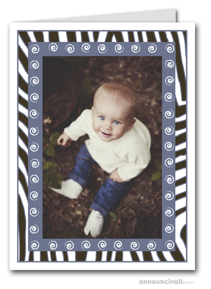 Zebra & Swirls Periwinkle Holiday Photo Holder Cards (V)