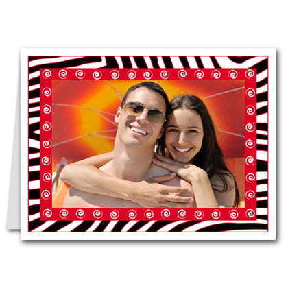 Zebra & Swirls Red Holiday Photo Holder Cards (H)