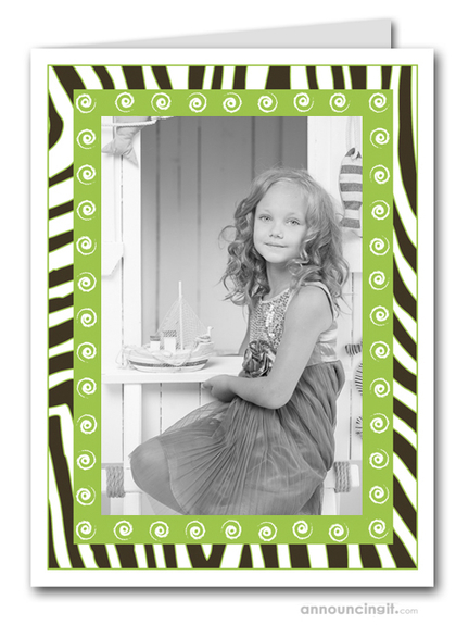 Zebra & Swirls on Green Holiday Photo Holder Cards (V)