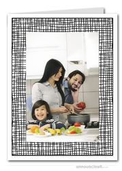 Black Crosshatch Photo Holder Holiday Cards (V)