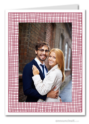 Burgundy Crosshatch Photo Holder Holiday Cards (V)