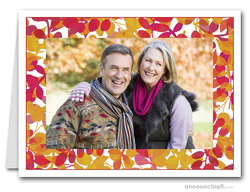 Foliage Red & Gold Photo Holder Holiday Cards (H)