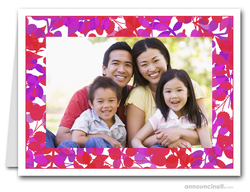 Foliage Red & Purple Photo Holder Holiday Cards (H)