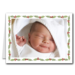 Holly Holiday Folded Photo Holder Christmas Cards (H)