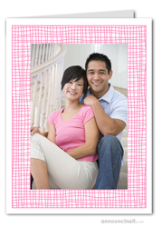 Pink Crosshatch Photo Holder Holiday Cards (V)
