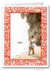 Red Coral Photo Holder Holiday Christmas Cards (V)