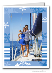 Blue Snow Holiday Photo Holder Cards (V)