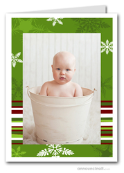 Green Snow Holiday Photo Holder Cards (V)