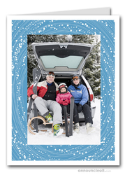 Swirling Snow Photo Holder Holiday Christmas Cards (V)