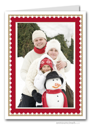 Dotted Red & Taupe Holiday Photo Holder Cards (V)