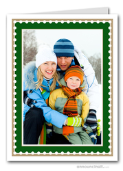 Dotted Hunter & Taupe Holiday Photo Holder Cards (V)