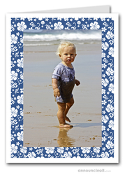 Hibiscus on Blue Tropical Holiday Photo Holder Cards (V)