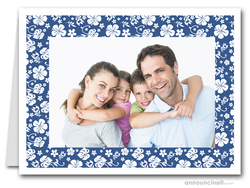 Hibiscus on Blue Tropical Holiday Photo Holder Cards (H)