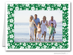 Hibiscus on Green Tropical Holiday Photo Holder Cards (H)