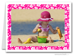 Hibiscus on Pink Tropical Holiday Photo Holder Cards (H)