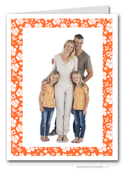 Hibiscus on Orange Tropical Holiday Photo Holder Cards (V)