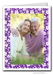 Hibiscus on Purple Tropical Holiday Photo Holder Cards (V)