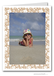 Hibiscus on Tan Tropical Holiday Photo Holder Cards (V)