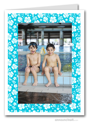 Hibiscus on Turquoise Tropical Holiday Photo Holder Cards (V)