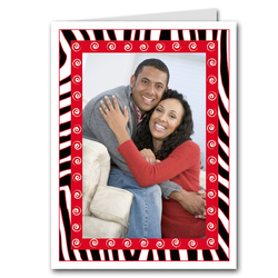 Zebra & Swirls Red Holiday Photo Holder Cards (V)