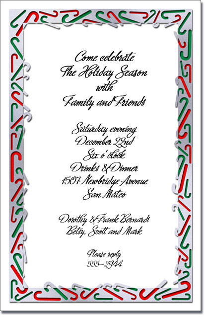 Candy Canes Holiday Invitations