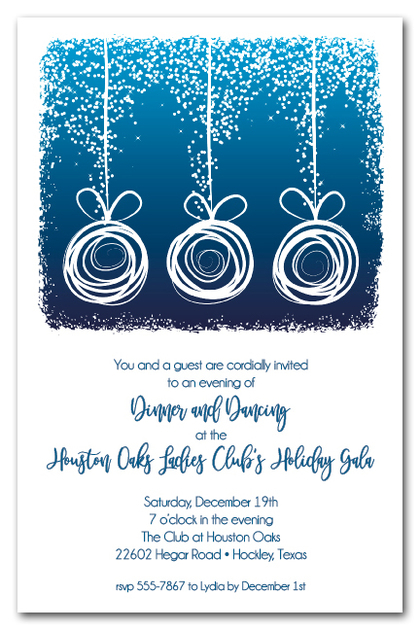 Abstract Ornaments on Blue Christmas Invitations