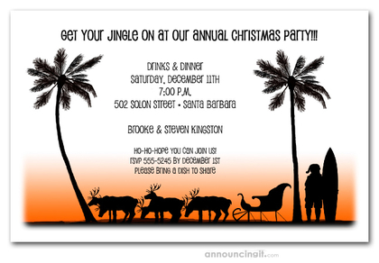 Beach Santa and Sleigh Christmas Invitations
