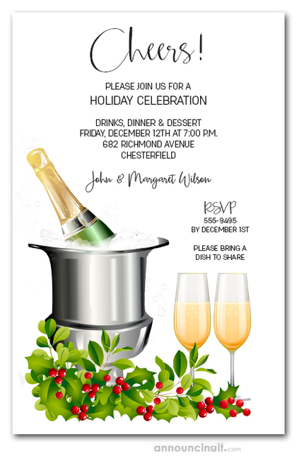 Champagne Bucket and Holly Holiday Invitations