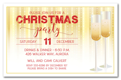 Champagne Glasses on Stars Holiday Invitations