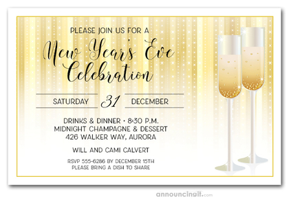 Champagne Glasses on Stars New Year's Invitations