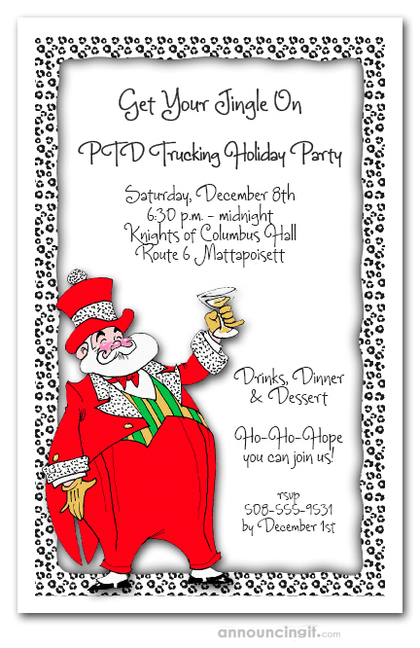Dapper Mr. Santa Klaus Christmas Invitations