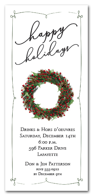 Evergreen Wreath Holiday Party Invitations