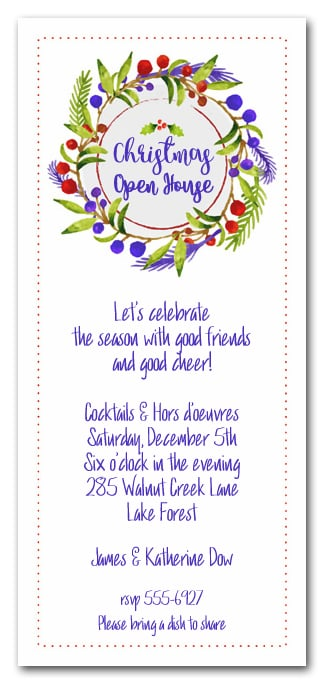 Hand Painted Floral Wreath Holiday Invitations