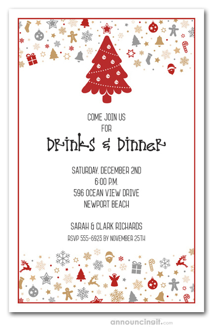 Holiday Elements Christmas Invitations