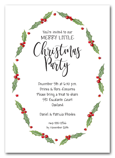 Oval Holly & Berries Holiday Party Invitations