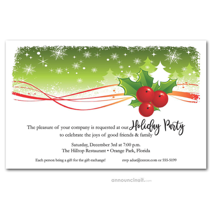 Holly and Snowy Pine Trees Holiday Invitations